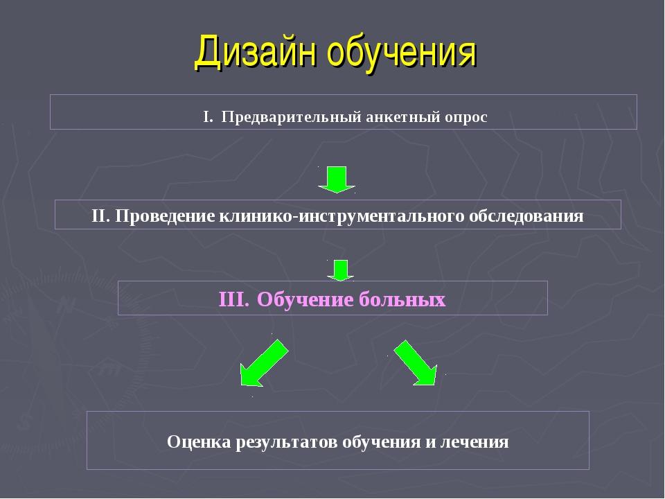 Дизайн обучения I. Предварительный анкетный опрос II. Проведение клинико-инст...