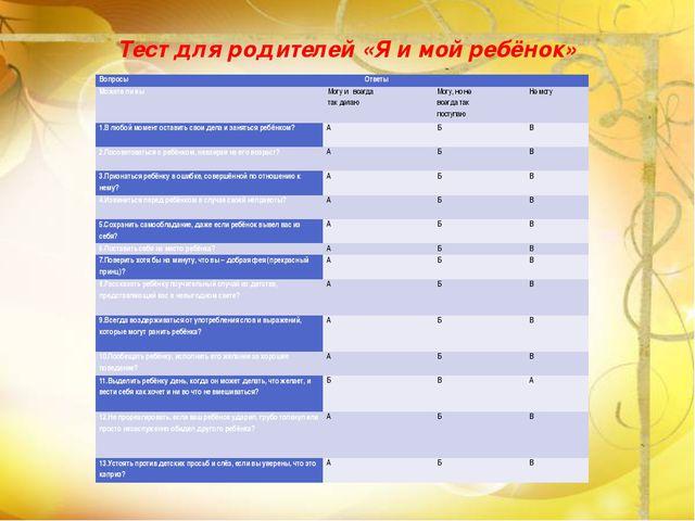 Тест для родителей «Я и мой ребёнок» Вопросы Ответы Можете ли вы Могу и всегд...