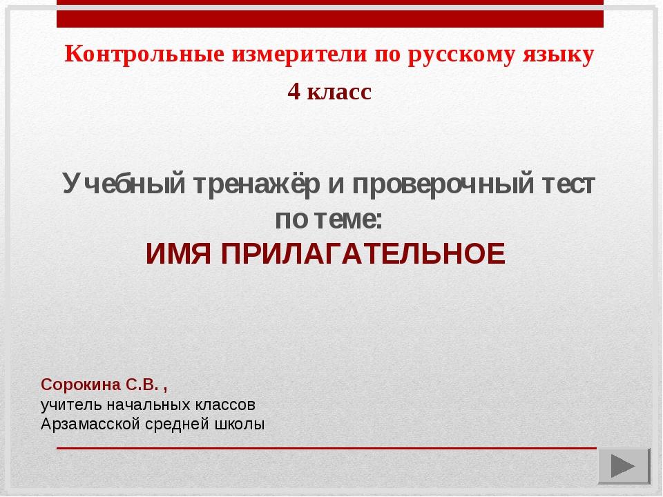 Контрольные измерители по русскому языку Учебный тренажёр и проверочный тест...