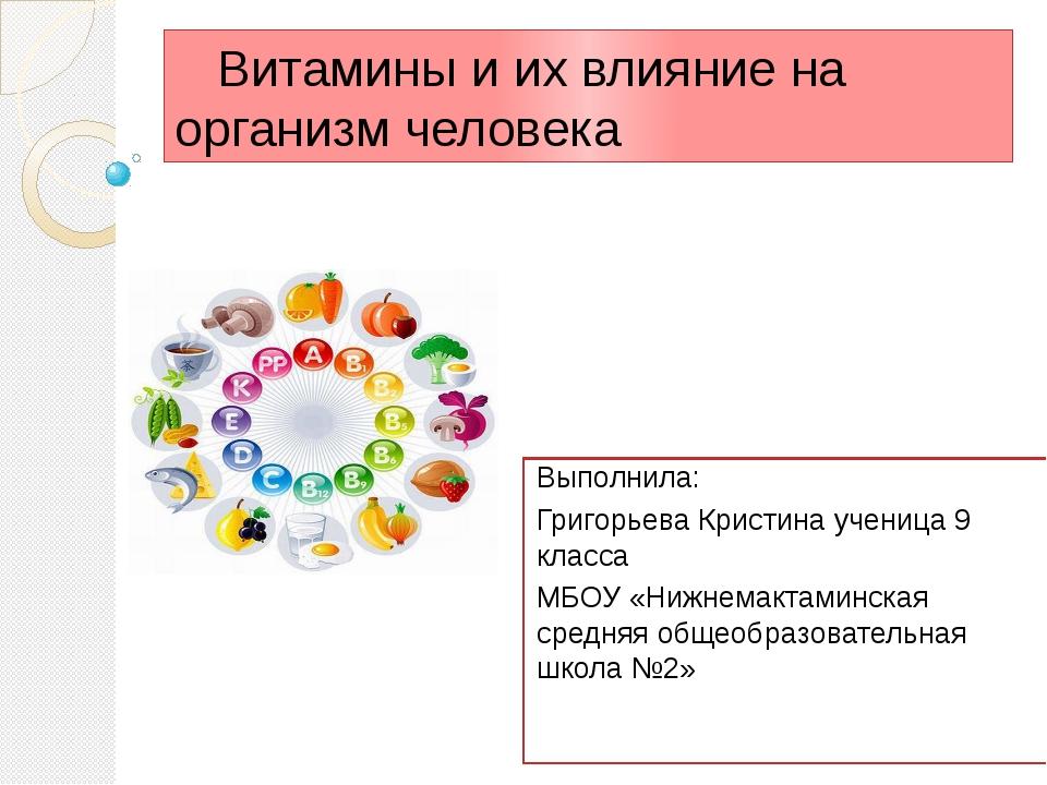 Витамины и их влияние на организм человека Выполнила: Григорьева Кристина уч...