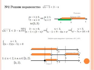 №2 Решим неравенство Решение: Найдём ОДЗ: Найдём корни квадратного трёхчлена