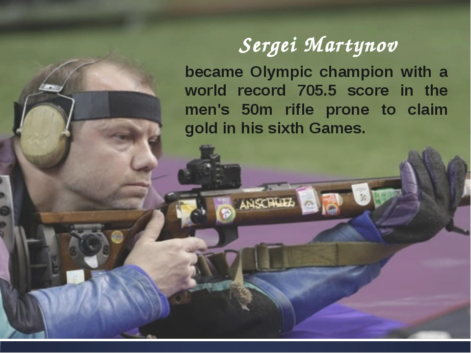 Sergei Martynov became Olympic champion with a world record 705.5 score in th...