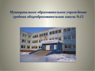 Муниципальное образовательное учреждение средняя общеобразовательная школа №15