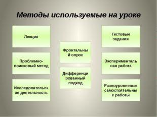 Методы используемые на уроке Фронтальный опрос Исследовательская деятельность