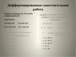 Задание 1 (уровень А). Постройте графики функций (карточка1) 1)У=2(х+3)2 2) у