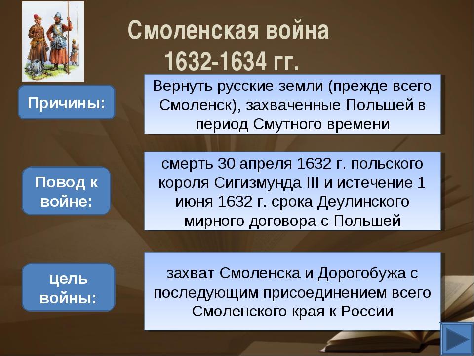 Смоленская война 1632-1634 гг. Причины: Вернуть русские земли (прежде всего С...