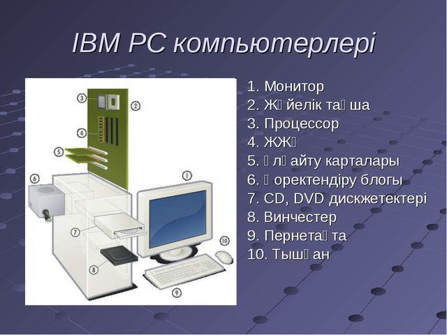 IBM PC компьютерлері 1. Монитор 2. Жүйелік тақша 3. Процессор 4. ЖЖҚ 5. Ұлғай...