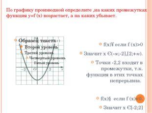 По графику производной определите ,на каких промежутках функция y=f ̕(x) возр