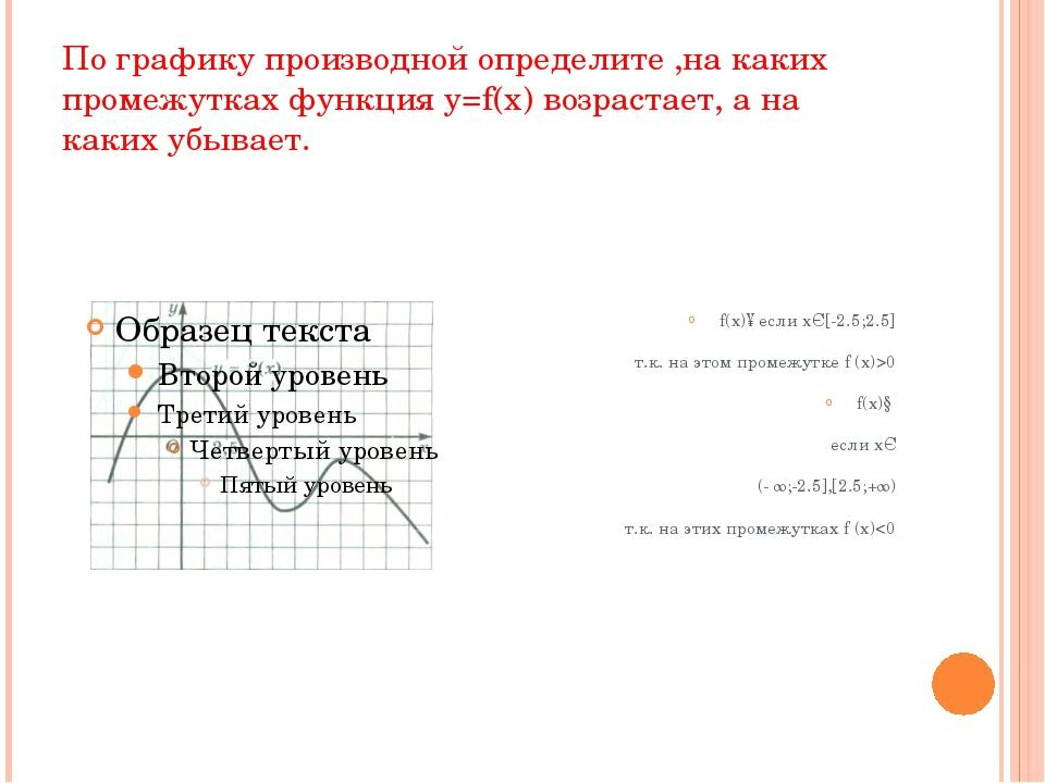 По графику производной определите ,на каких промежутках функция y=f(x) возрас...