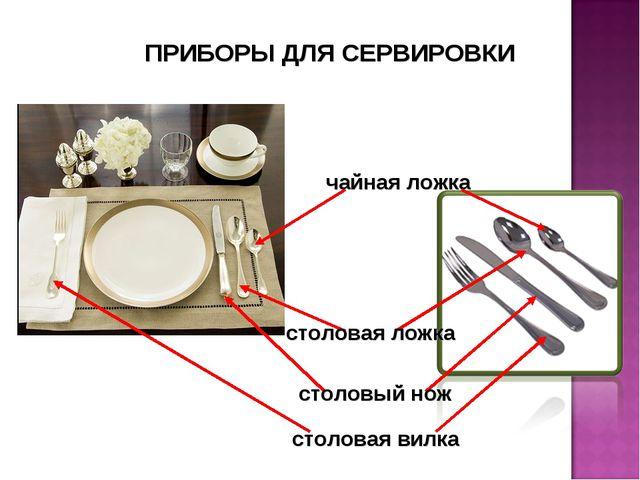 чайная ложка столовая ложка столовый нож столовая вилка ПРИБОРЫ ДЛЯ СЕРВИРОВКИ