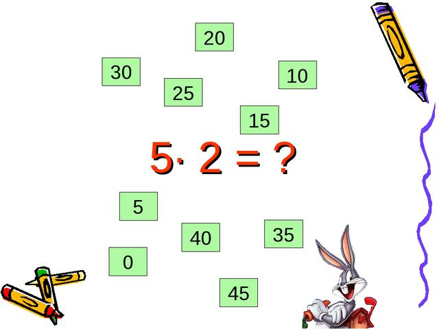 5· 2 = ? 0 35 45 25 20 15 10 5 40 30