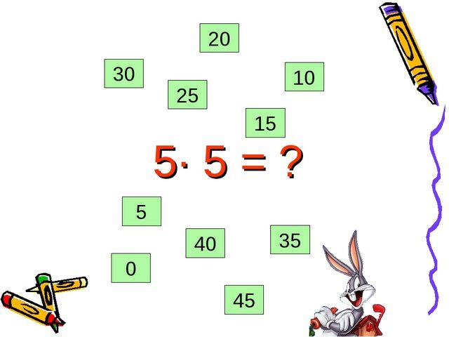 5· 5 = ? 0 35 45 25 20 15 10 5 40 30