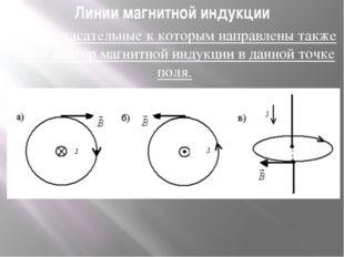 Линии магнитной индукции Линии, касательные к которым направлены также как и