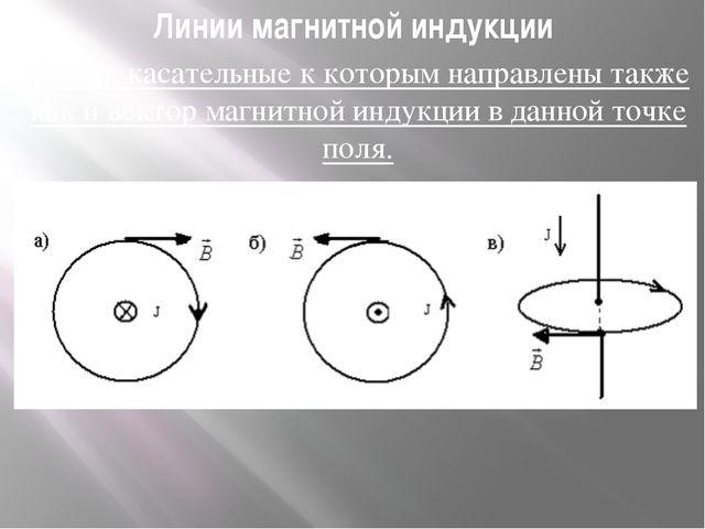 Линии магнитной индукции Линии, касательные к которым направлены также как и...