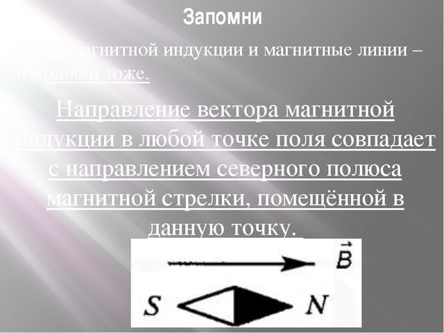 Запомни Линии магнитной индукции и магнитные линии – это одно и тоже. Направл...