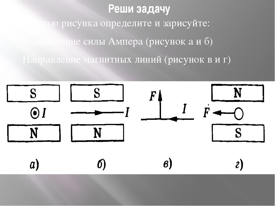 Реши задачу С помощью рисунка определите и зарисуйте: Направление силы Ампера...