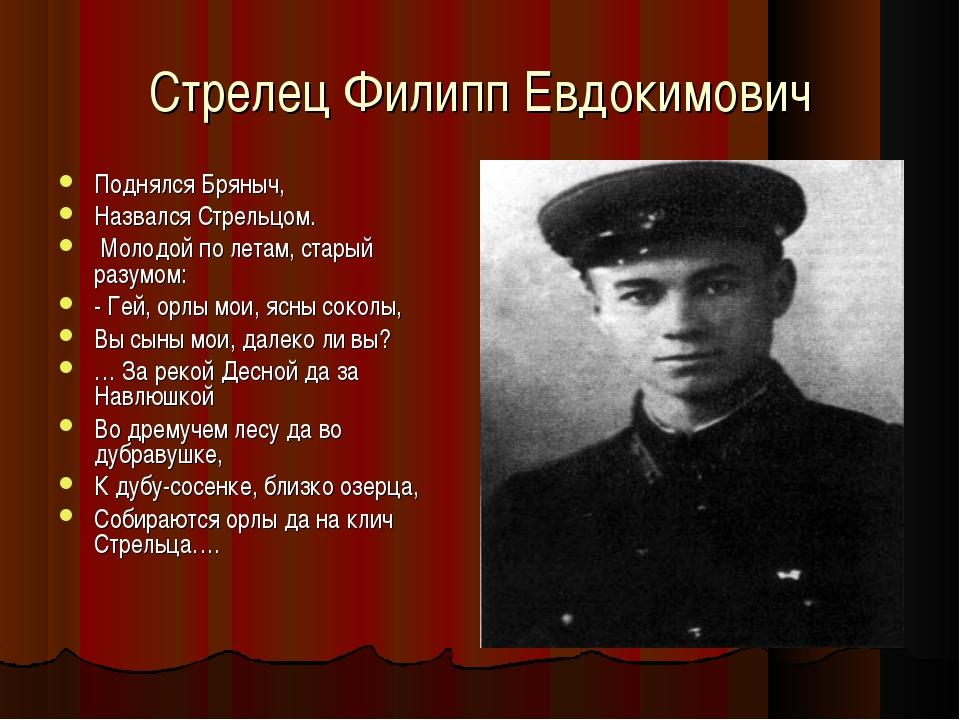 Стрелец Филипп Евдокимович Поднялся Бряныч, Назвался Стрельцом. Молодой по ле...