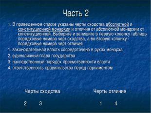 Часть 2 1. В приведенном списке указаны черты сходства абсолютной и конституц