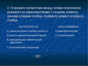 3. Установите соответствие между типами политических режимов и их характерис