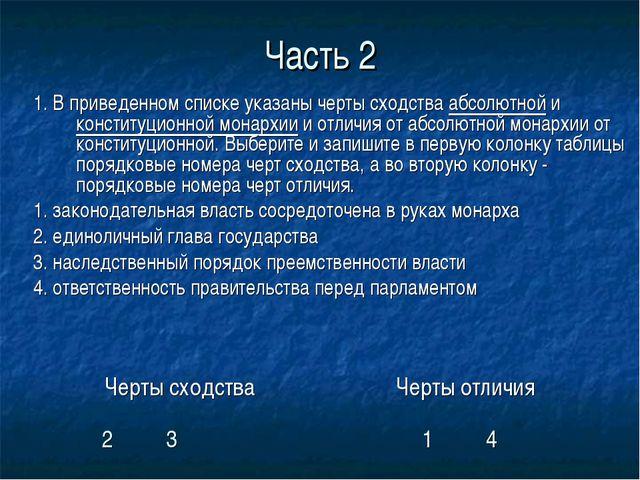 Часть 2 1. В приведенном списке указаны черты сходства абсолютной и конституц...