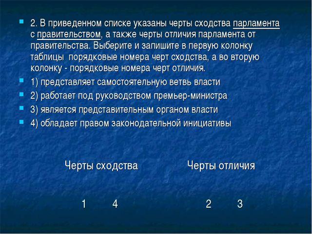 2. В приведенном списке указаны черты сходства парламента с правительством, а...