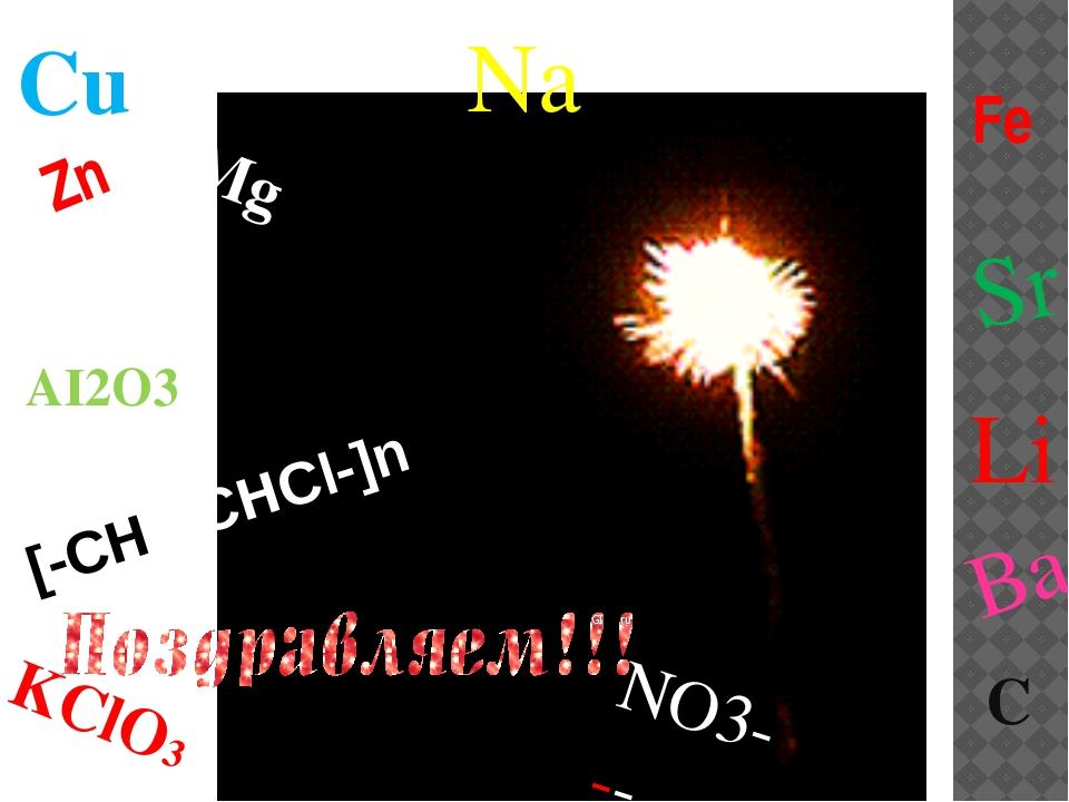 C Zn Zn Mg Fe KClO3 AI2O3 Li Ba Sr Cu Na [-CH2-CHCl-]n NO3-