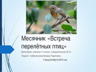 Месячник «Встреча перелётных птиц» Выполнили: ученики 4 г класса «Средней шко