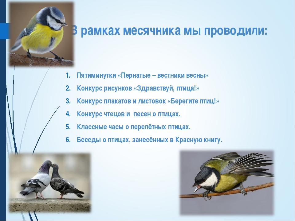 В рамках месячника мы проводили: Пятиминутки «Пернатые – вестники весны» Конк...