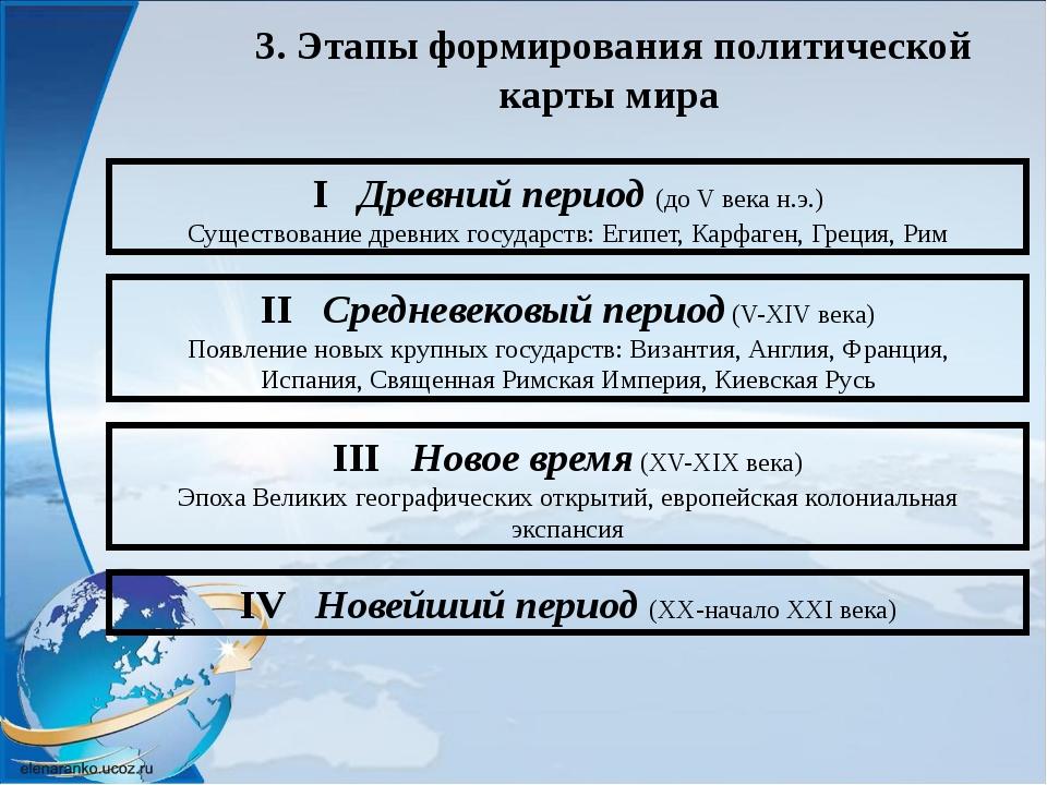3. Этапы формирования политической карты мира I Древний период (до V века н.э...