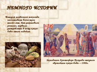 НЕМНОГО ИСТОРИИ История появления шоколада насчитывает более трех тысяч лет.