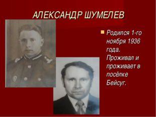 АЛЕКСАНДР ШУМЕЛЕВ Родился 1-го ноября 1936 года. Проживал и проживает в посёл