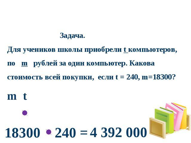 Задача. Для учеников школы приобрели t компьютеров, по m рублей за один комп...