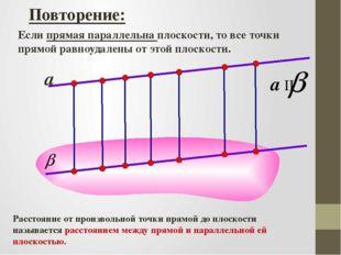Повторение: Если прямая параллельна плоскости, то все точки прямой равноудале