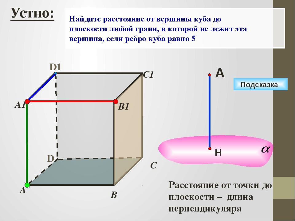 D А В С D1 С1 Подсказка В1 А1 Найдите расстояние от вершины куба до плоскост...