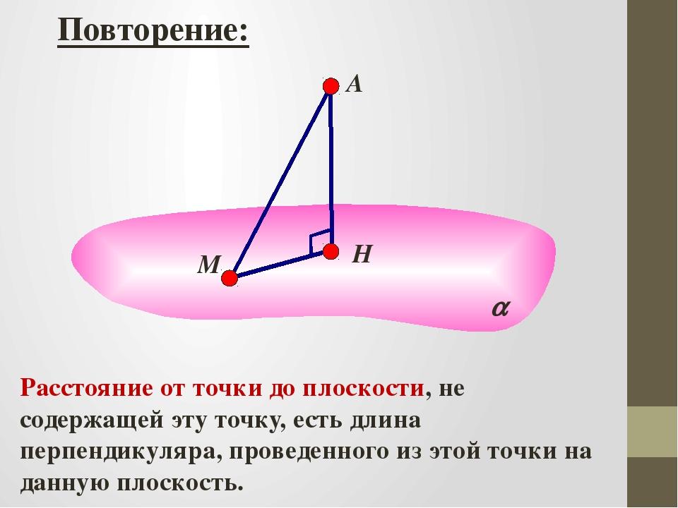  Повторение: А Расстояние от точки до плоскости, не содержащей эту точку, е...