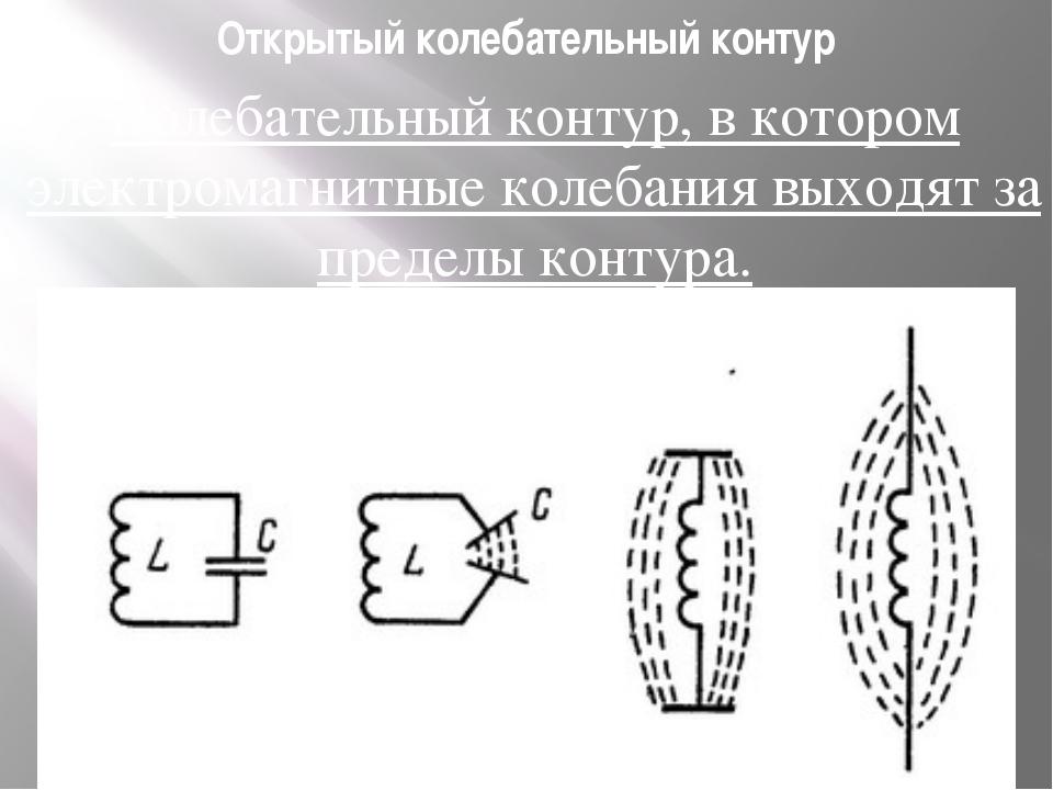 Открытый колебательный контур Колебательный контур, в котором электромагнитны...