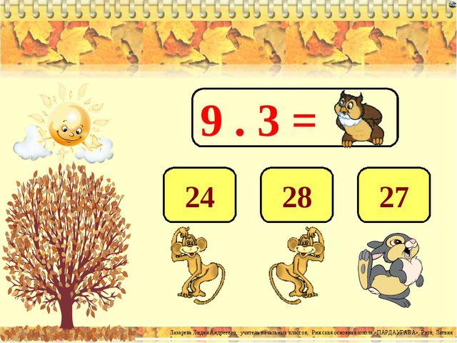 9 . 3 = 27 28 24 Лазарева Лидия Андреевна, учитель начальных классов, Рижская...