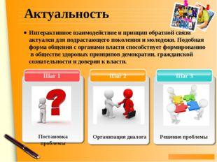 Актуальность Шаг 3 Шаг 2 Шаг 1 Решение проблемы Интерактивное взаимодействие