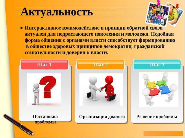 Актуальность Шаг 3 Шаг 2 Шаг 1 Решение проблемы Интерактивное взаимодействие...