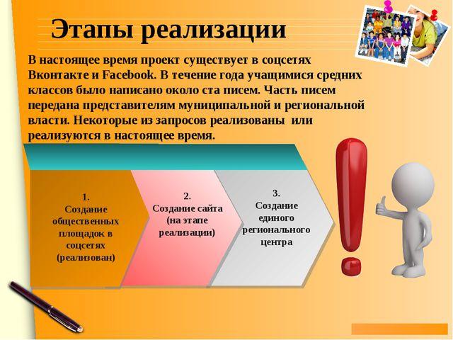Этапы реализации В настоящее время проект существует в соцсетях Вконтакте и F...