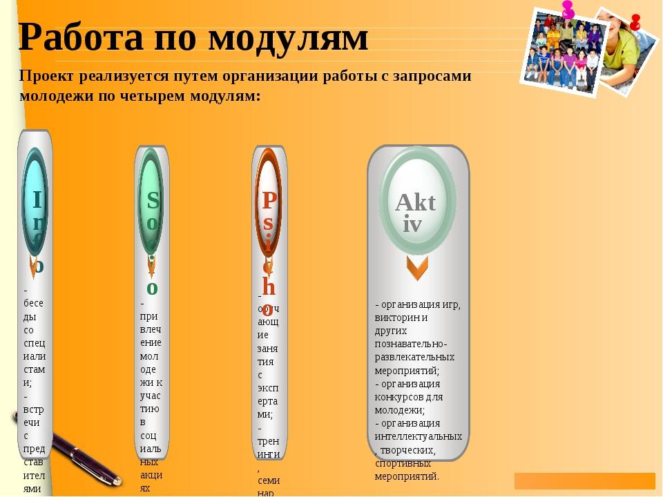 Работа по модулям Проект реализуется путем организации работы с запросами мол...
