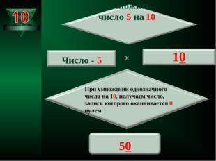 Х При умножении однозначного числа на 10, получаем число, запись которого ока