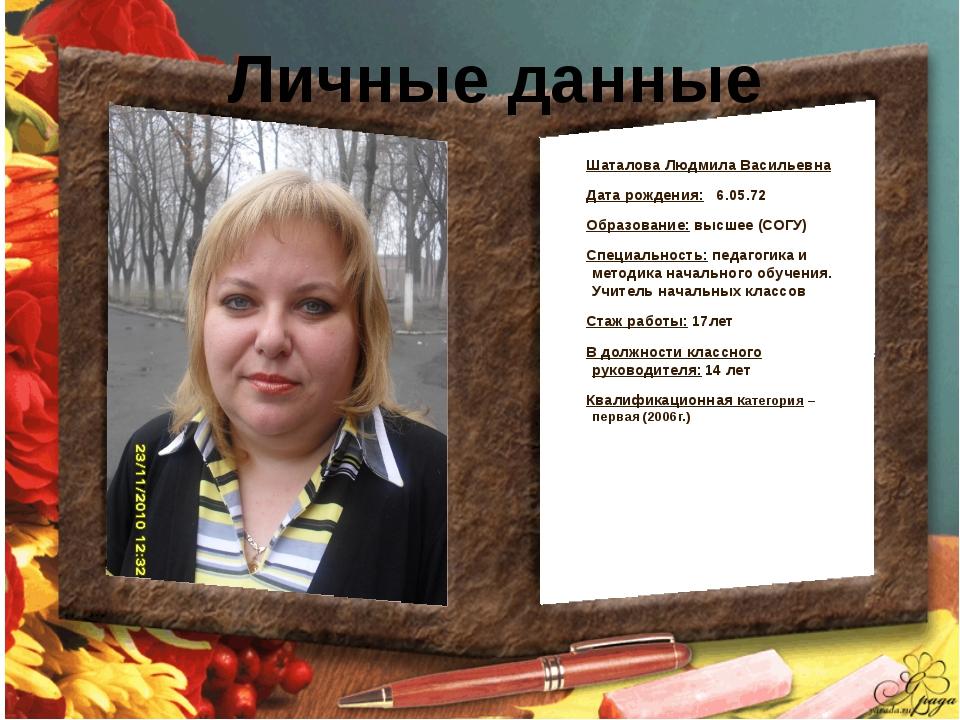 Личные данные Шаталова Людмила Васильевна Дата рождения: 6.05.72 Образование:...