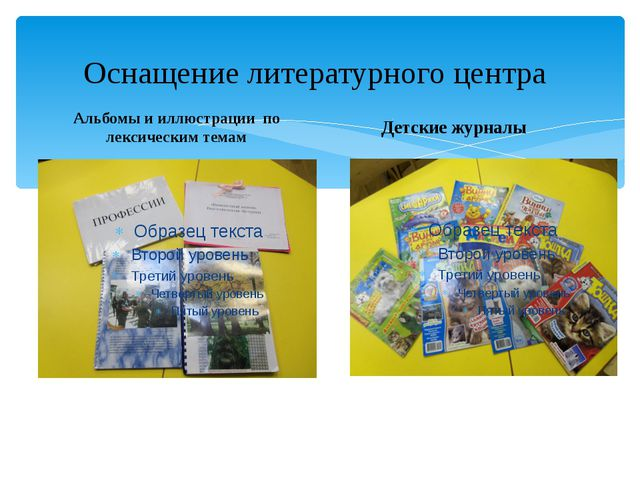 Оснащение литературного центра Альбомы и иллюстрации по лексическим темам Дет...