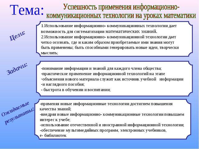 Цели: 1.Использование информационно- коммуникационных технологии дает возможн...