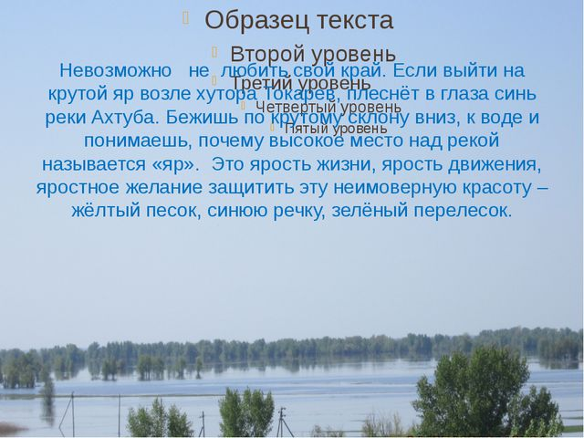 Невозможно не любить свой край. Если выйти на крутой яр возле хутора Токарев,...