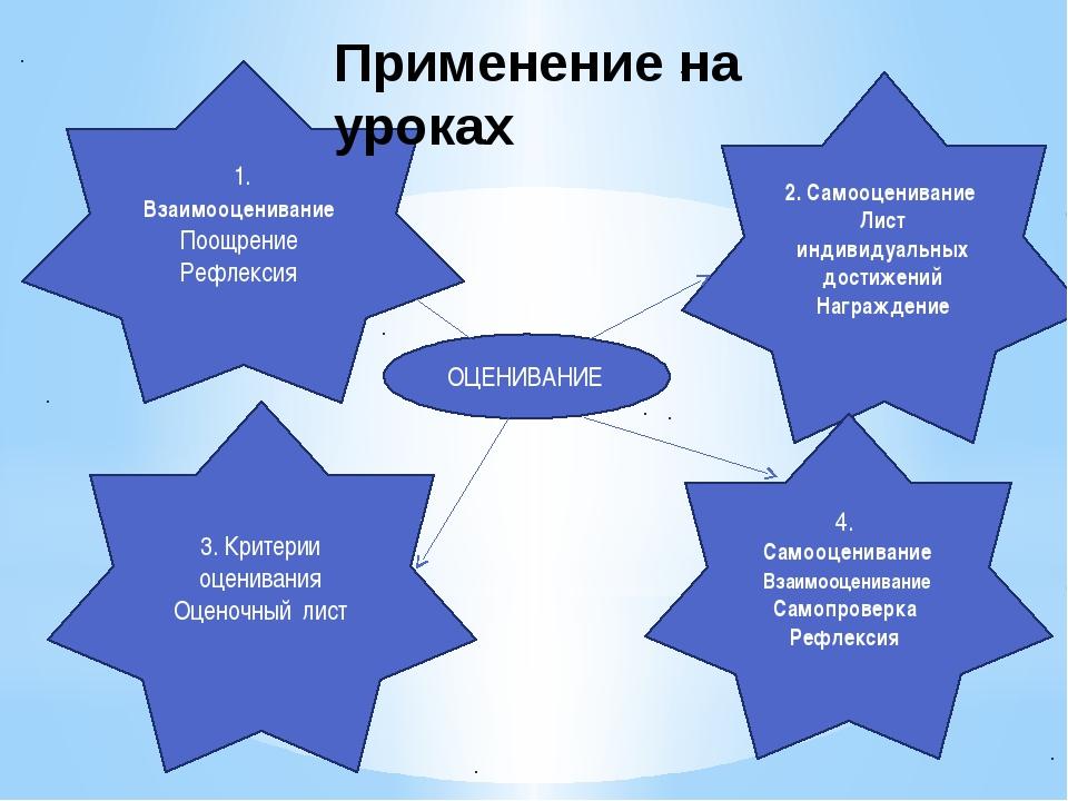 1. Взаимооценивание Поощрение Рефлексия 2. Самооценивание Лист индивидуальных...