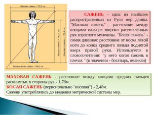 """САЖЕНЬ - одна из наиболее распространенных на Руси мер длины. """"Маховая сажен"""