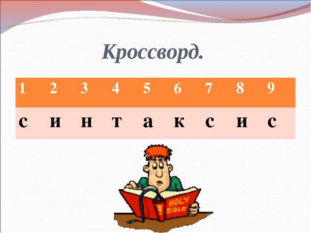 Кроссворд. 123456789  123456789 синтаксис