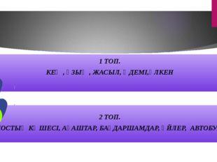 1 ТОП. КЕҢ , ҰЗЫҢ , ЖАСЫЛ, ӘДЕМІ,ҮЛКЕН 2 ТОП. ДОСТЫҚ КӨШЕСІ, АҒАШТАР, БАҒДАР